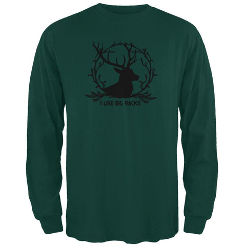 Buck Deer I Like Big Racks Funny Pun Mens Long Sleeve T Shirt