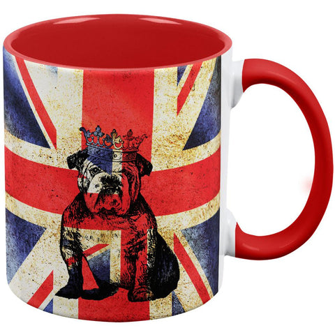 English British Bulldog Crown Grunge Flag Red Handle Coffee Mug
