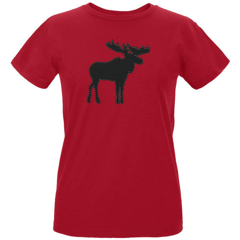 Moose Faux Stitched Womens T Shirt