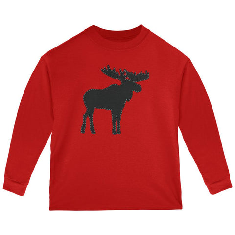 Moose Faux Stitched Toddler Long Sleeve T Shirt