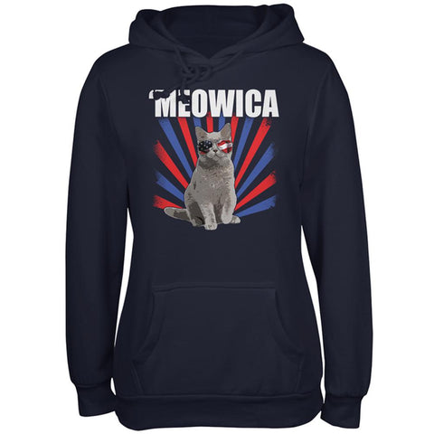 4th of July Meowica Patriotic Cat Juniors Soft Hoodie