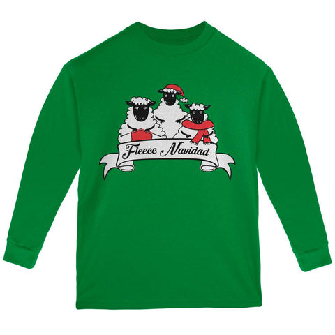 Christmas Sheep Feliz Fleece Navidad Youth Long Sleeve T Shirt