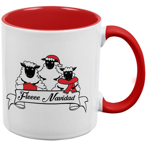 Christmas Sheep Feliz Fleece Navidad Red Handle Coffee Mug