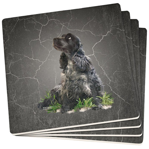 English Cocker Spaniel Live Forever Set of 4 Square Sandstone Coasters