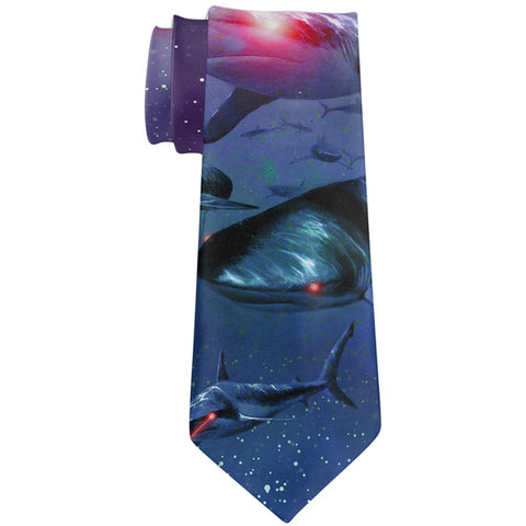Laser Sharks in Space All Over Neck Tie