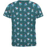 Christmas Narwhals in Santa Hats Pattern All Over Mens T Shirt