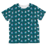 Christmas Narwhals in Santa Hats Pattern All Over Toddler T Shirt