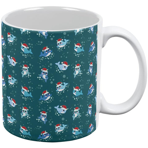 Christmas Narwhals in Santa Hats Pattern All Over Coffee Mug