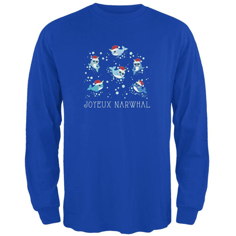 Christmas Joyeux Narwhal Noel Mens Long Sleeve T Shirt