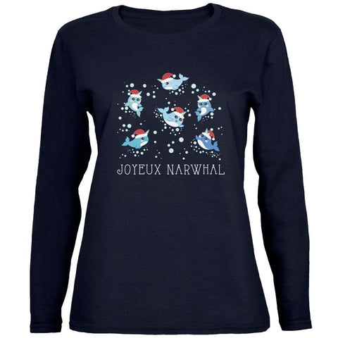 Christmas Joyeux Narwhal Noel Womens Long Sleeve T Shirt