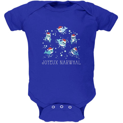 Christmas Joyeux Narwhal Noel Soft Baby One Piece
