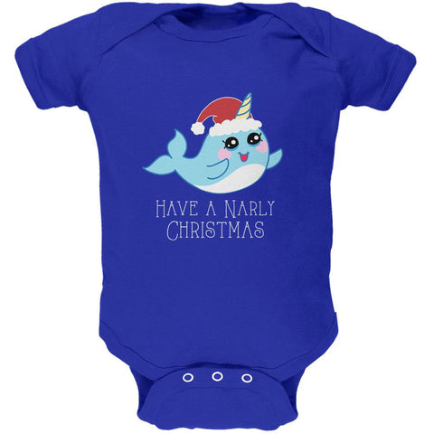 Narwhal Have a Narly Gnarly Christmas Soft Baby One Piece