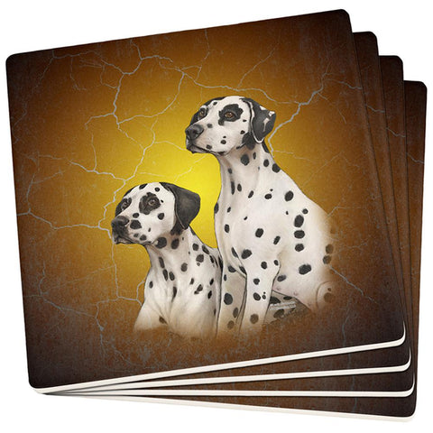 Dalmatians Live Forever Set of 4 Square Sandstone Coasters
