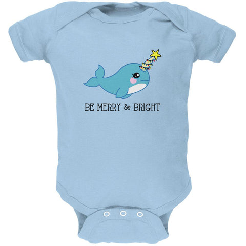Christmas Narwhal Be Merry and Bright Soft Baby One Piece