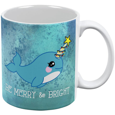 Christmas Narwhal Be Merry and Bright All Over Coffee Mug