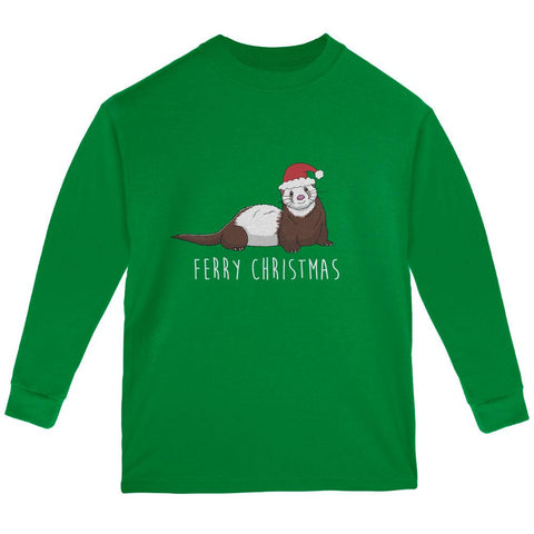 Ferry Merry Christmas Ferret Youth Long Sleeve T Shirt