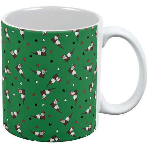 Retro Ferry Merry Christmas Ferret Pattern All Over Coffee Mug