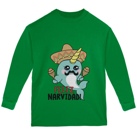Christmas Narwhal Feliz Narvidad Navidad Youth Long Sleeve T Shirt