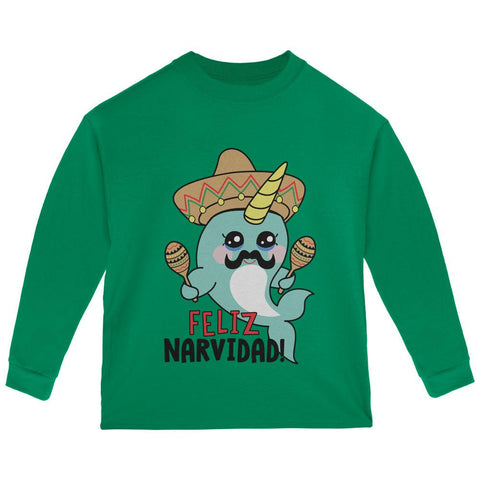 Christmas Narwhal Feliz Narvidad Navidad Toddler Long Sleeve T Shirt