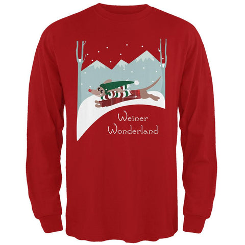 Christmas Dachshund Weiner Winter Wonderland Mens Long Sleeve T Shirt