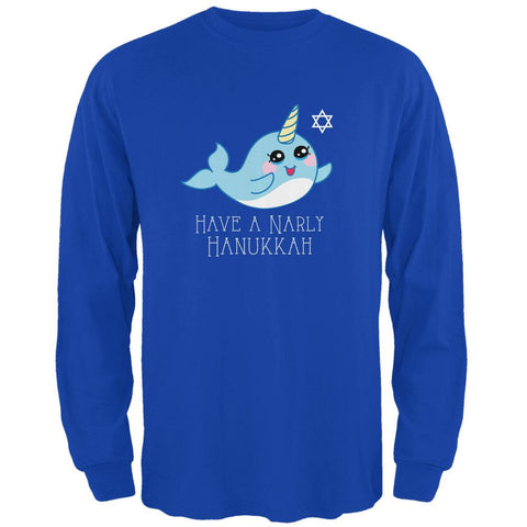 Narwhal Have a Narly Gnarly Hanukkah Mens Long Sleeve T Shirt