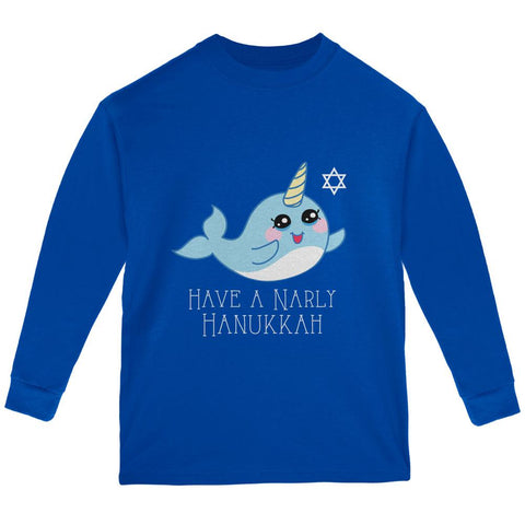 Narwhal Have a Narly Gnarly Hanukkah Youth Long Sleeve T Shirt
