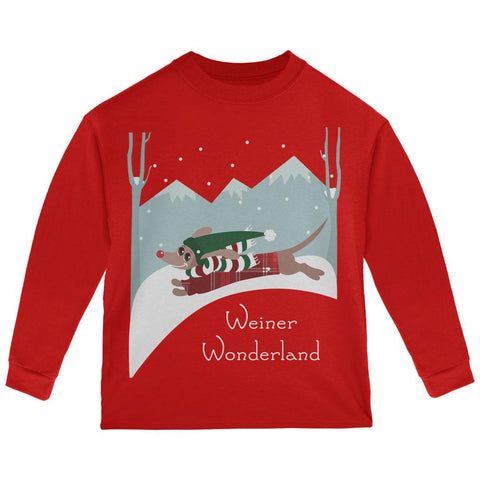 Christmas Dachshund Weiner Winter Wonderland Toddler Long Sleeve T Shirt