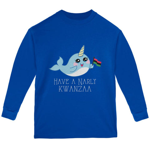 Narwhal Have a Narly Gnarly Kwanzaa Youth Long Sleeve T Shirt
