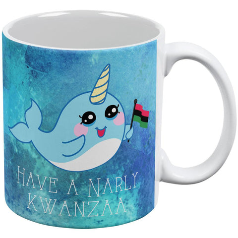 Narwhal Have a Narly Gnarly Kwanzaa All Over Coffee Mug