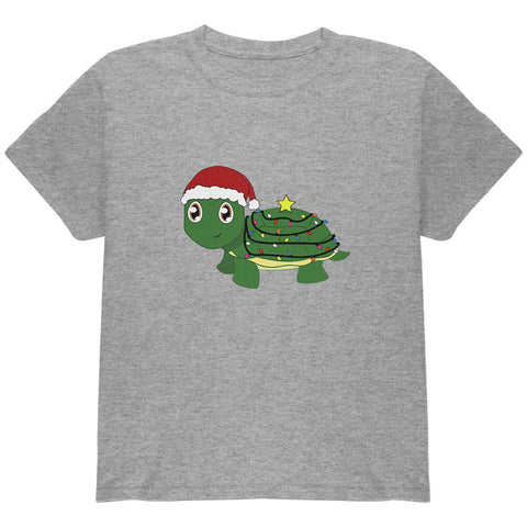 Christmas Turtle Lights Santa Hat Youth T Shirt