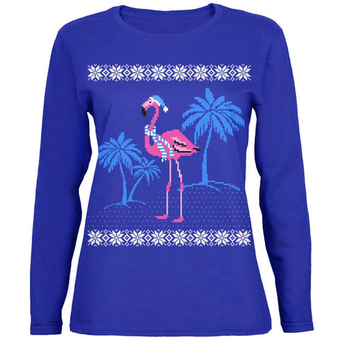 Flamingo Winter Ugly Christmas Sweater Womens Long Sleeve T Shirt