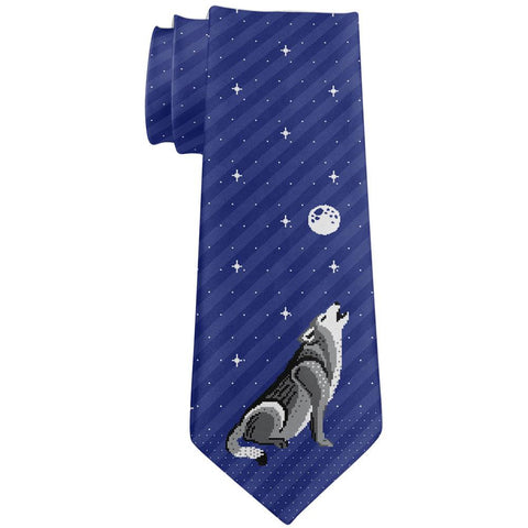 Howling Wolf Ugly Christmas Sweater All Over Neck Tie