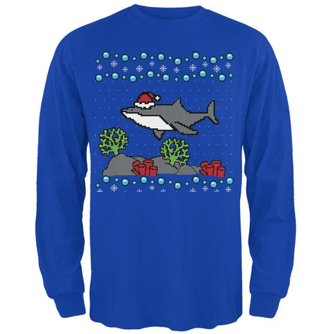 Ugly Christmas Sweater Shark Santa Hat Mens Long Sleeve T Shirt