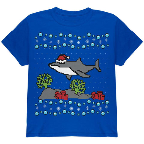 Ugly Christmas Sweater Shark Santa Hat Youth T Shirt
