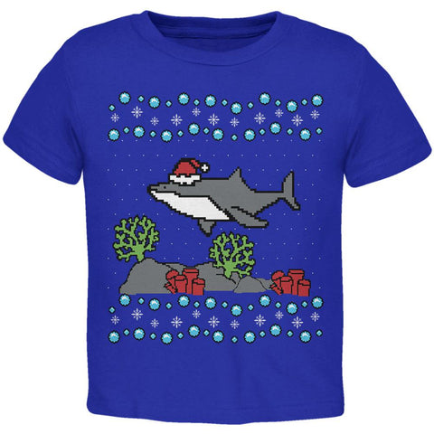 Ugly Christmas Sweater Shark Santa Hat Toddler T Shirt