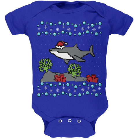 Ugly Christmas Sweater Shark Santa Hat Soft Baby One Piece