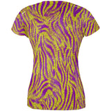 Mardi Gras Cajun Tiger Costume All Over Juniors T Shirt