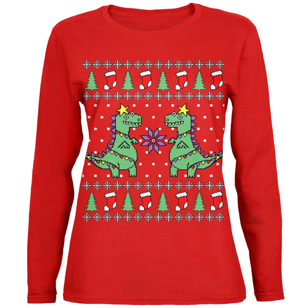 T Rex Ugly Christmas Sweater.Tree Rex T Rex Ugly Christmas Sweater Womens Long Sleeve T Shirt