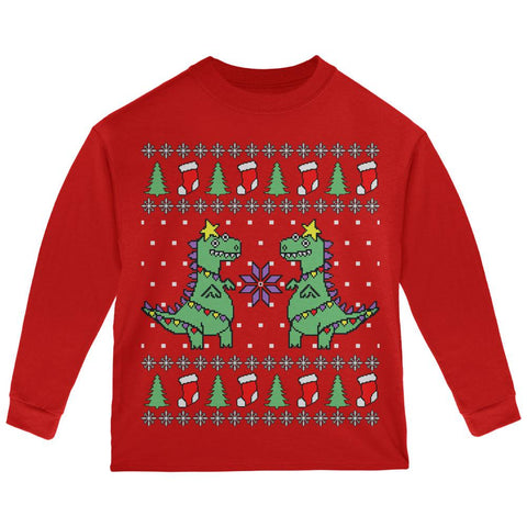 Tree Rex T Rex Ugly Christmas Sweater Toddler Long Sleeve T Shirt