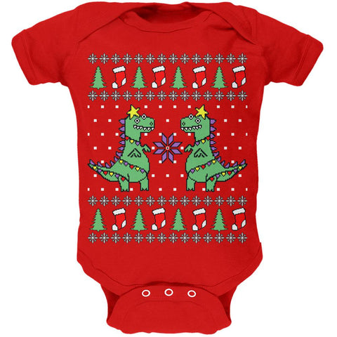 Tree Rex T Rex Ugly Christmas Sweater Soft Baby One Piece