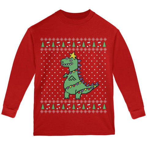 Big Tree Rex T Rex Ugly Christmas Sweater Youth Long Sleeve T Shirt