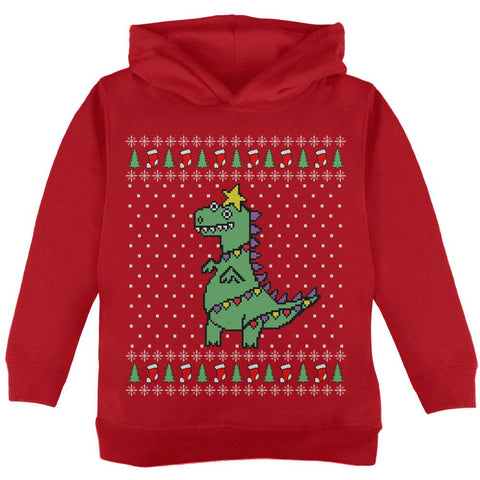 Big Tree Rex T Rex Ugly Christmas Sweater Toddler Hoodie