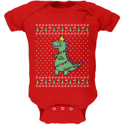 Big Tree Rex T Rex Ugly Christmas Sweater Soft Baby One Piece