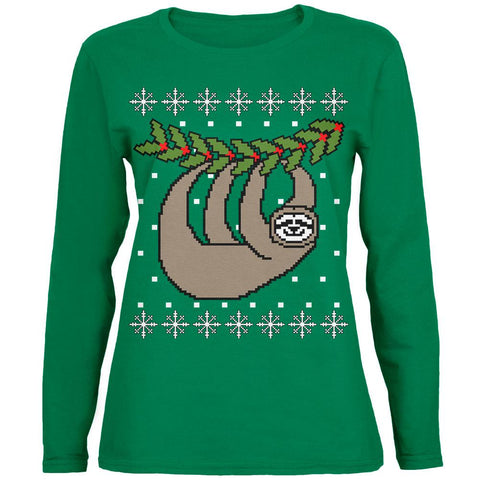 Big Hanging Sloth Ugly Christmas Sweater Womens Long Sleeve T Shirt