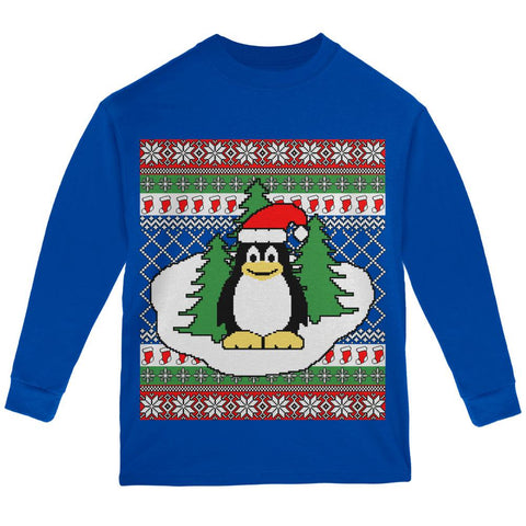 Penguin on Ice Ugly Christmas Sweater Youth Long Sleeve T Shirt