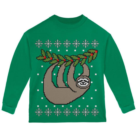 Big Hanging Sloth Ugly Christmas Sweater Toddler Long Sleeve T Shirt