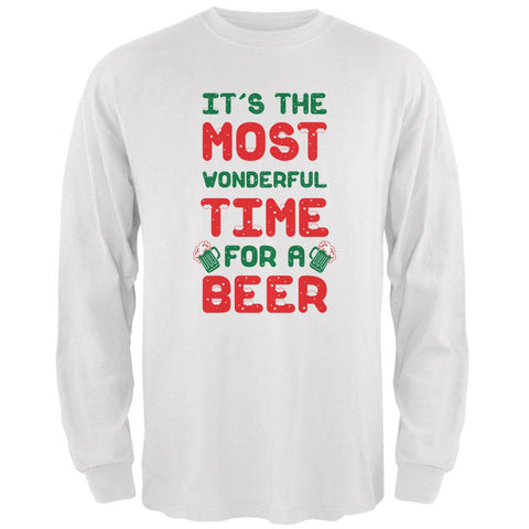 Christmas Most Wonderful Time for a Beer Mens Long Sleeve T Shirt