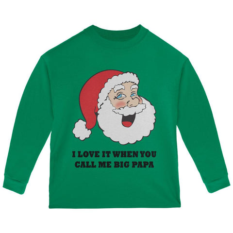 Christmas Santa I Love it When You Call Me Big Papa Toddler Long Sleeve T Shirt