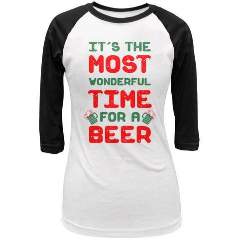 Christmas Most Wonderful Time for a Beer Juniors 3/4 Sleeve Raglan T Shirt