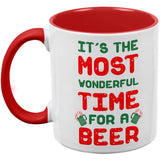 Christmas Most Wonderful Time for a Beer Red Handle Coffee Mug